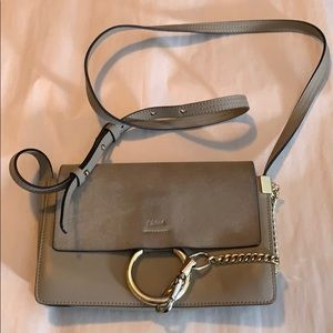Chloe Faye Small Suede Leather Gray Crossbody Bag